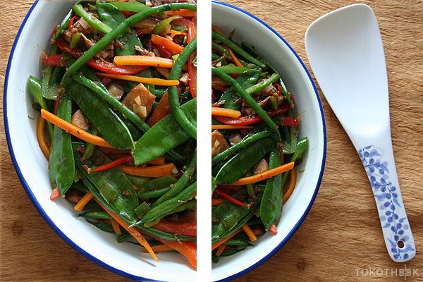 geroetbakte groenten in XO saus