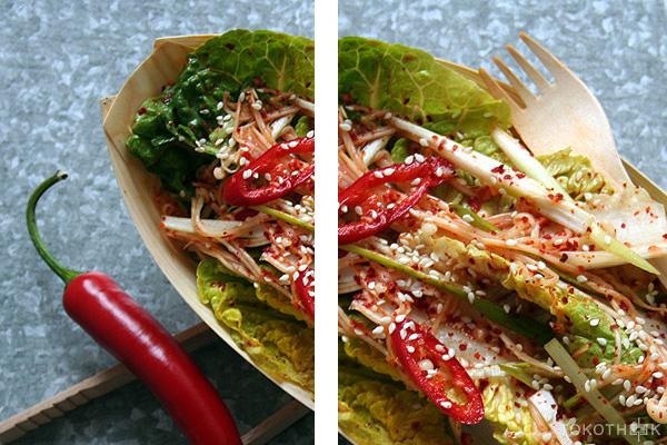 koreaanse zomersalade met enoki op tokotheek