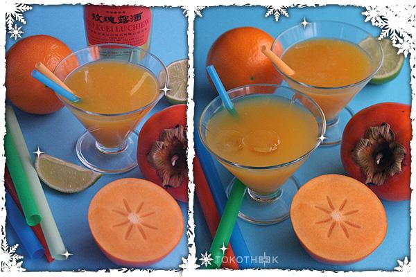 Mei Kuei Lu Chiew cocktail met kakifruit en orgeade op tokotheek