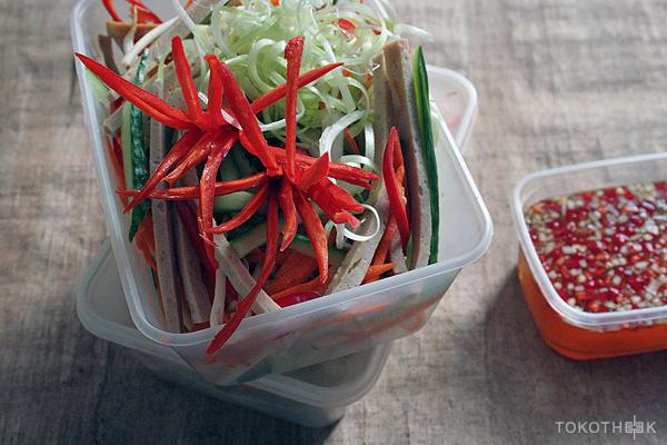 cha que salade met een Aziatische dressing
