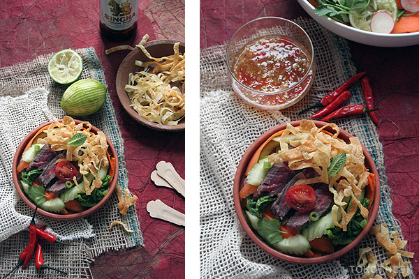 Thaise beef salade met gefrituurde wontonreepjes