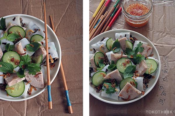vietnamese gestoomde rijstflensjes salade