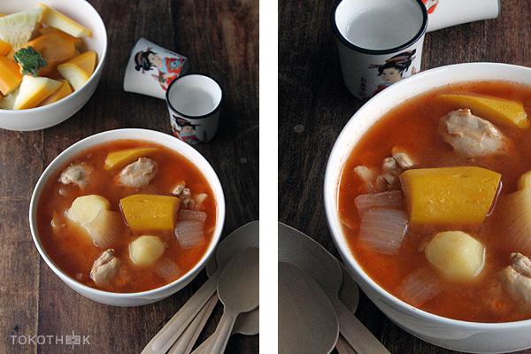 miso soep met courgette en kippendijen