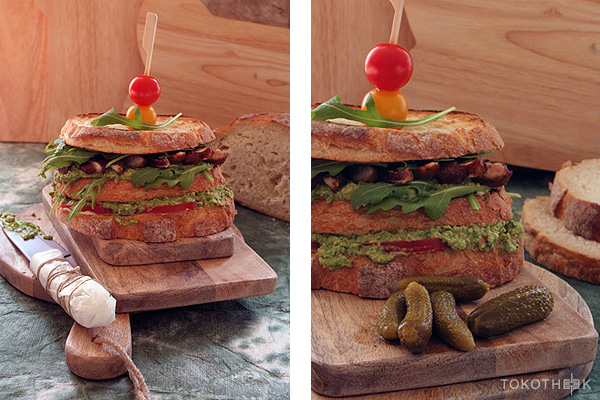 club sandwich met edamame spread en gegrilde miso kip